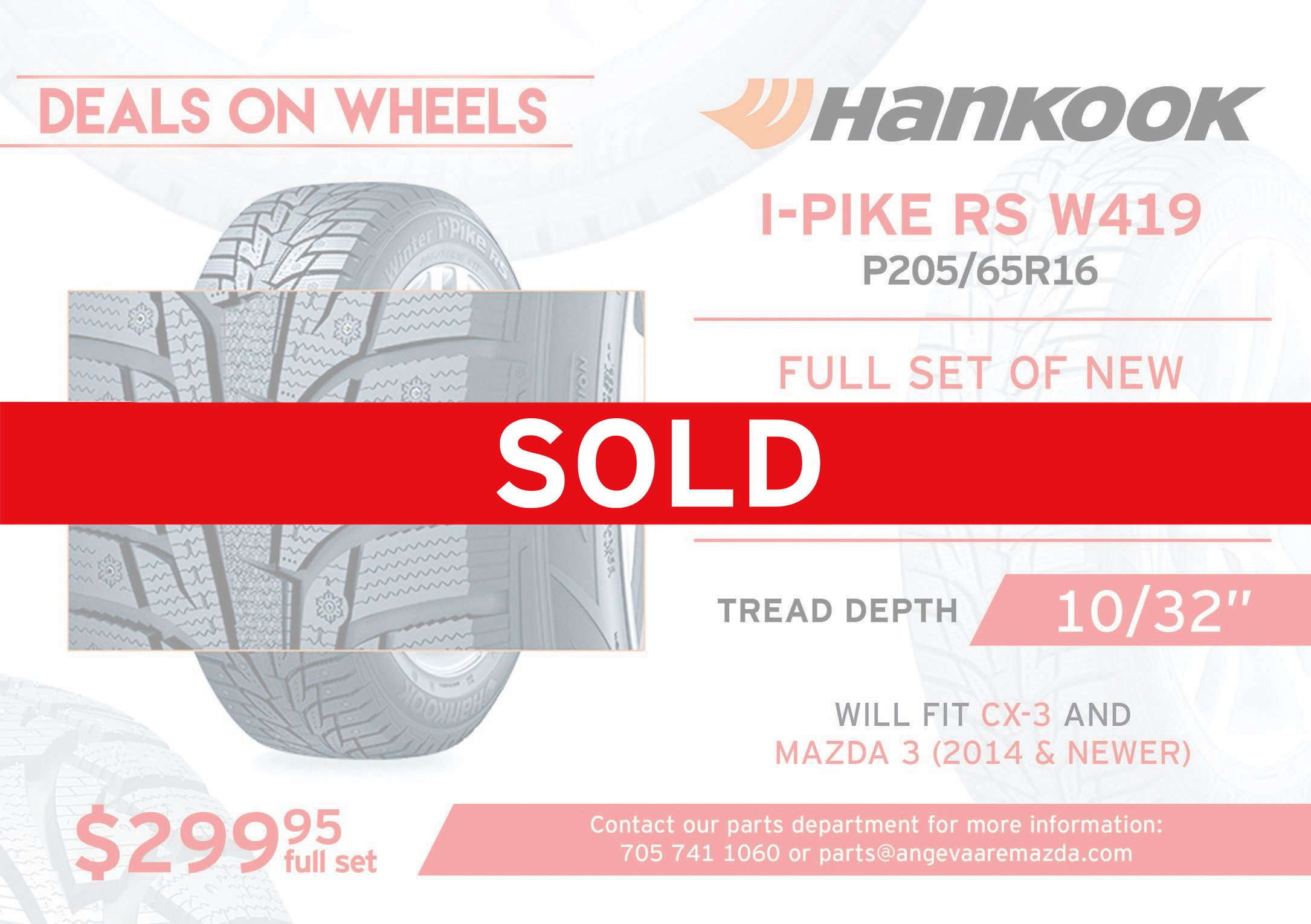 Hankook I-Pike RS W419 P205/65R16. A full set of new winter tires with no rims. Tread depth at 10/32